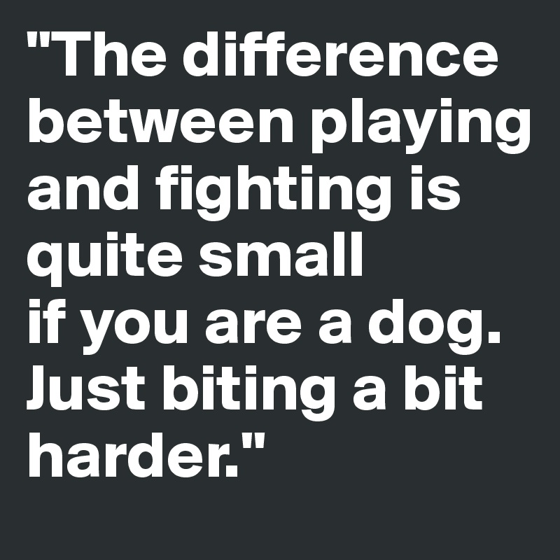 """The difference between playing and fighting is quite small  if you are a dog. Just biting a bit harder."""