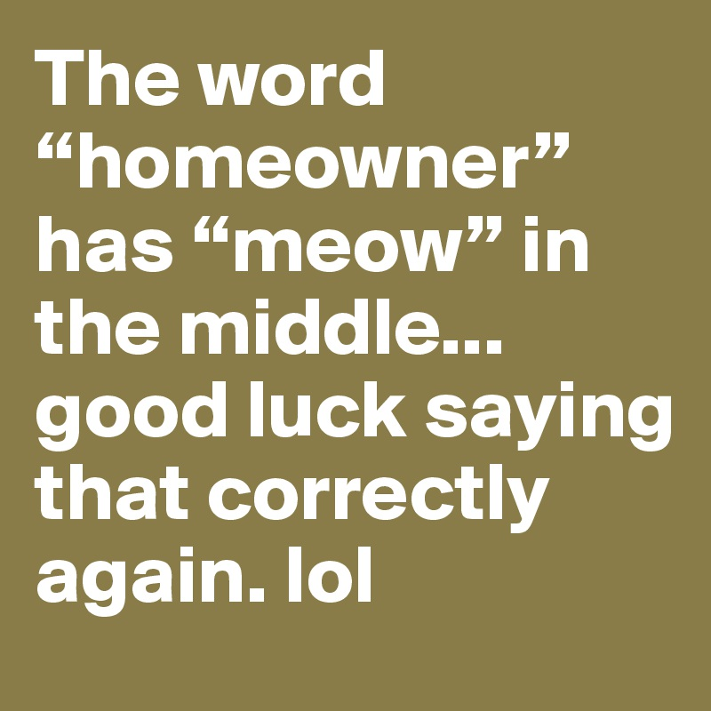 """The word """"homeowner"""" has """"meow"""" in the middle... good luck saying that correctly again. lol"""