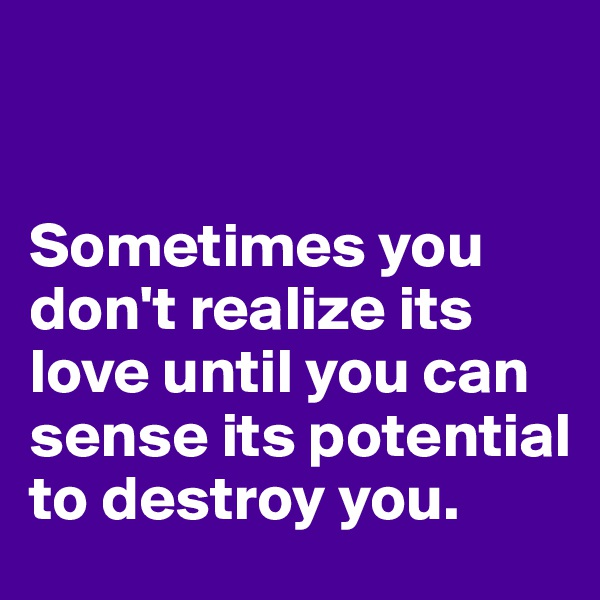 Sometimes you don't realize its love until you can sense its potential to destroy you.