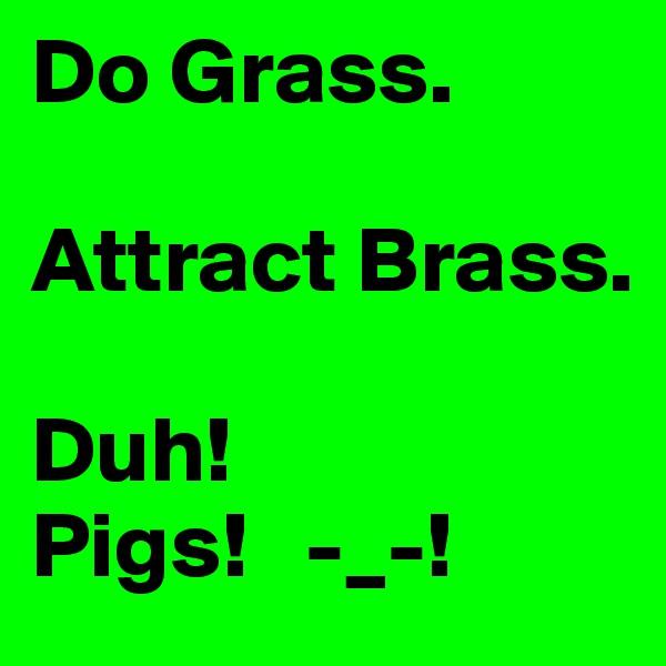Do Grass.  Attract Brass.  Duh! Pigs!   -_-!