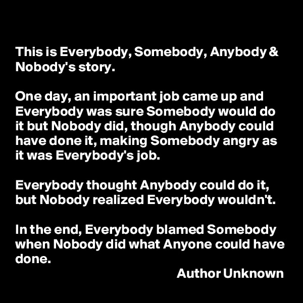 This is Everybody, Somebody, Anybody & Nobody's story.    One day, an important job came up and Everybody was sure Somebody would do it but Nobody did, though Anybody could have done it, making Somebody angry as it was Everybody's job.  Everybody thought Anybody could do it, but Nobody realized Everybody wouldn't.   In the end, Everybody blamed Somebody when Nobody did what Anyone could have done.                                                                                      Author Unknown