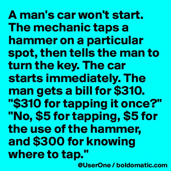 "A man's car won't start. The mechanic taps a hammer on a particular spot, then tells the man to turn the key. The car starts immediately. The man gets a bill for $310. ""$310 for tapping it once?"" ""No, $5 for tapping, $5 for the use of the hammer, and $300 for knowing where to tap."""