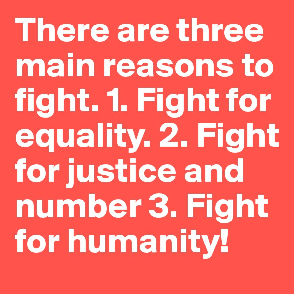 There are three main reasons to fight. 1. Fight for equality. 2. Fight for justice and number 3. Fight for humanity!
