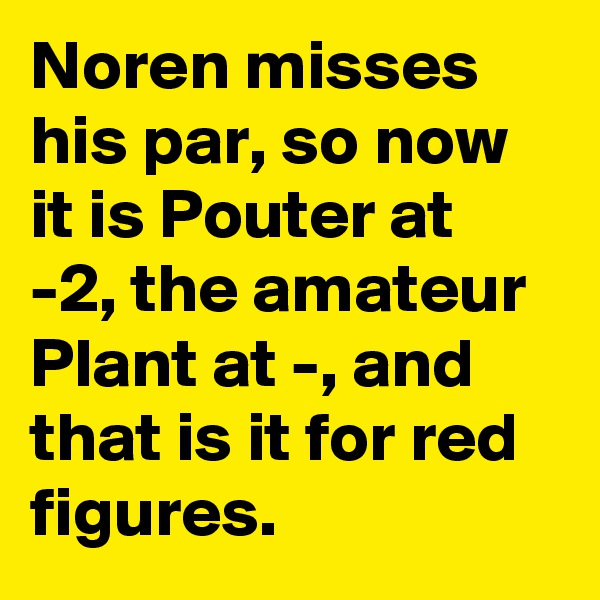 Noren misses his par, so now it is Pouter at -2, the amateur Plant at -, and that is it for red figures.
