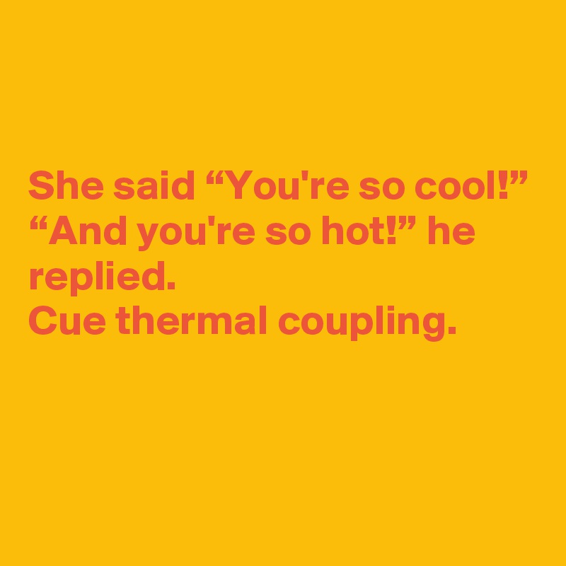 "She said ""You're so cool!"" ""And you're so hot!"" he replied. Cue thermal coupling."