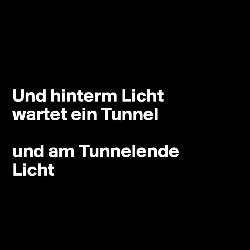Und hinterm Licht  wartet ein Tunnel  und am Tunnelende Licht