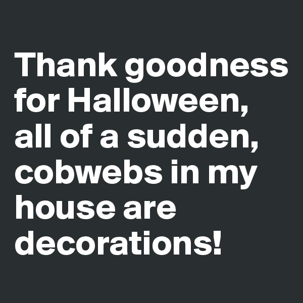 Thank goodness for Halloween, all of a sudden, cobwebs in my house are decorations!