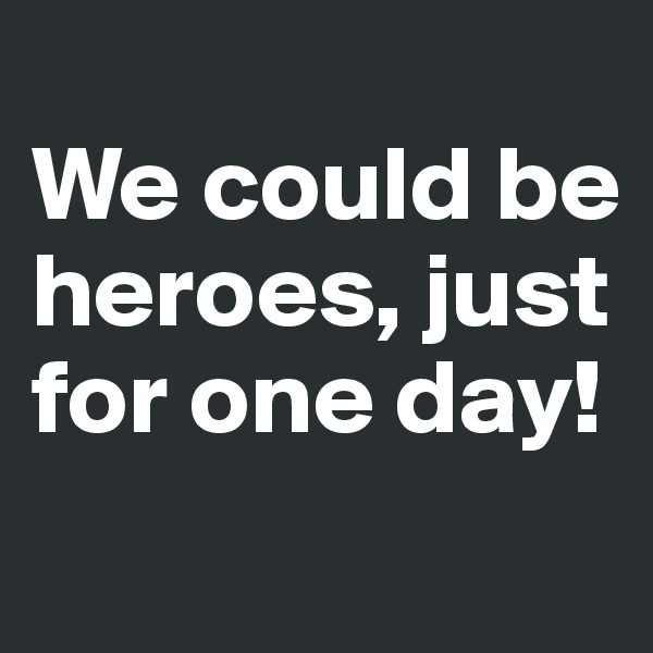 We could be heroes, just for one day!