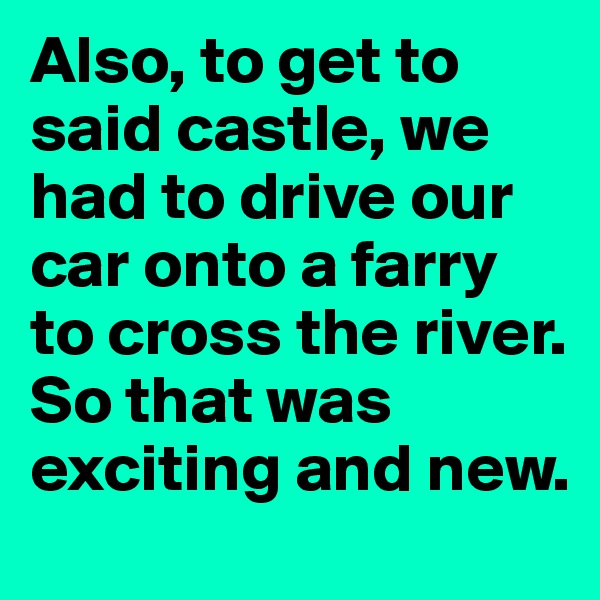 Also, to get to said castle, we had to drive our car onto a farry to cross the river. So that was exciting and new.