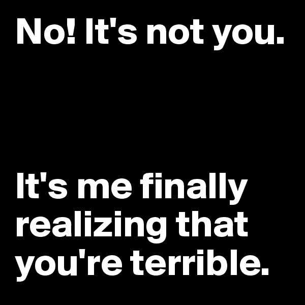 No! It's not you.     It's me finally realizing that you're terrible.