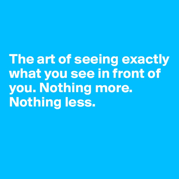 The art of seeing exactly what you see in front of you. Nothing more.  Nothing less.