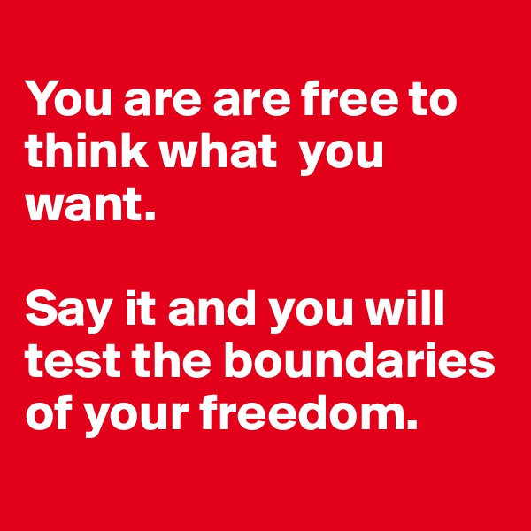 You are are free to think what  you want.   Say it and you will test the boundaries of your freedom.
