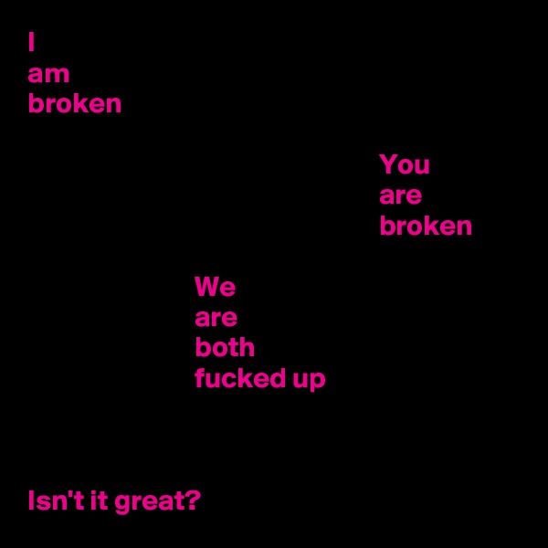 I am broken                                                               You                                                              are                                                              broken                               We                              are                              both                              fucked up    Isn't it great?