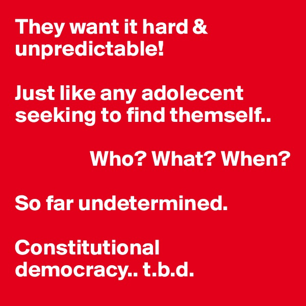 They want it hard & unpredictable!  Just like any adolecent seeking to find themself..                   Who? What? When?  So far undetermined.  Constitutional  democracy.. t.b.d.