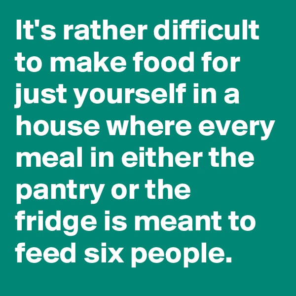 It's rather difficult to make food for just yourself in a house where every meal in either the pantry or the fridge is meant to feed six people.