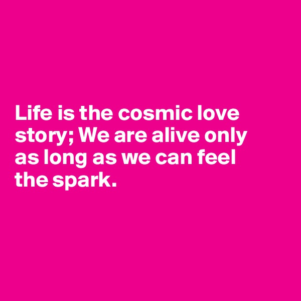 Life is the cosmic love story; We are alive only  as long as we can feel  the spark.