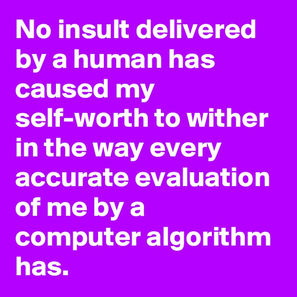 No insult delivered by a human has caused my self-worth to wither in the way every accurate evaluation of me by a computer algorithm has.