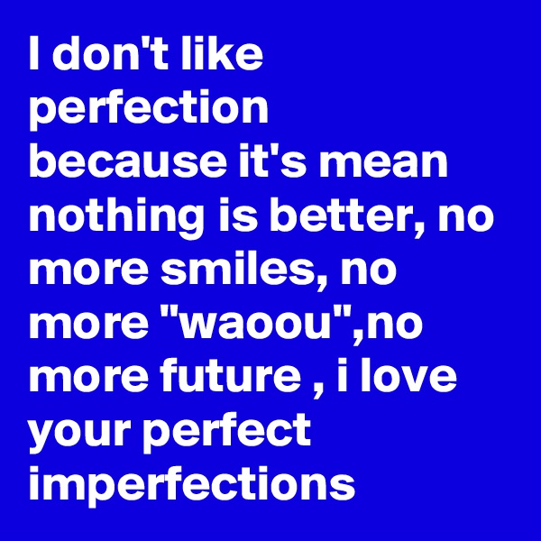 "I don't like perfection because it's mean nothing is better, no more smiles, no more ""waoou"",no more future , i love your perfect imperfections"