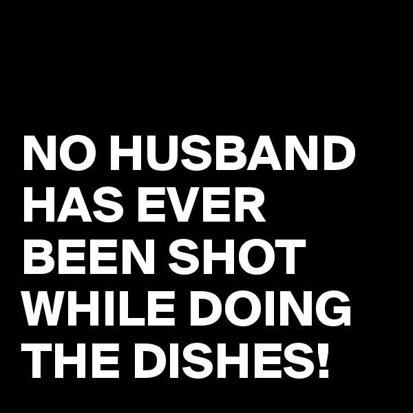 NO HUSBAND HAS EVER BEEN SHOT WHILE DOING THE DISHES!