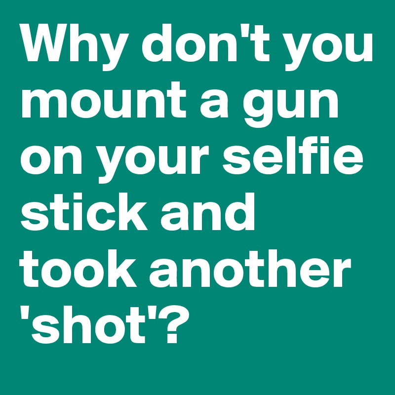 Why don't you mount a gun on your selfie stick and took another 'shot'?