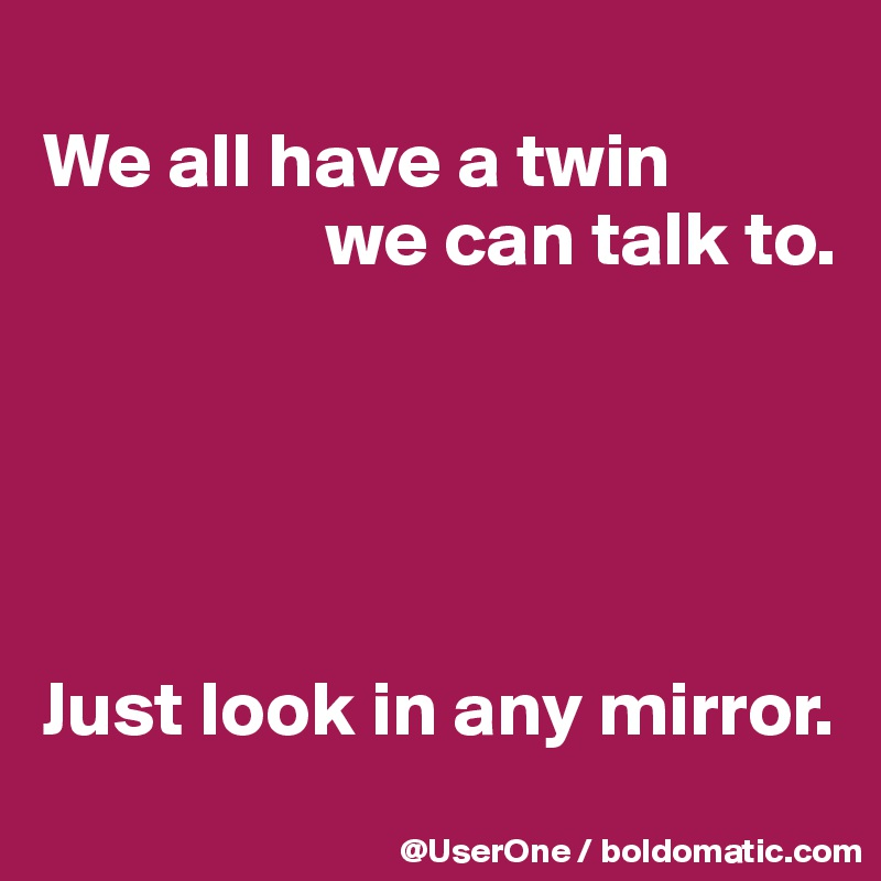 We all have a twin                   we can talk to.      Just look in any mirror.