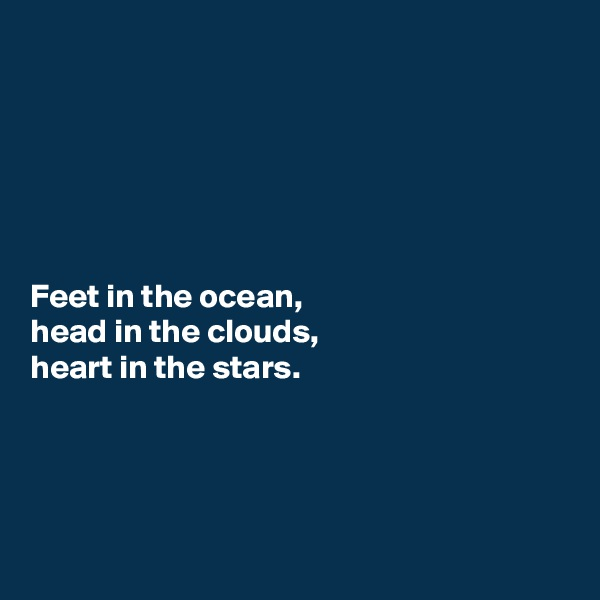 Feet in the ocean, head in the clouds, heart in the stars.