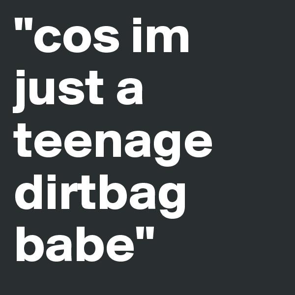 """cos im just a teenage dirtbag babe"""