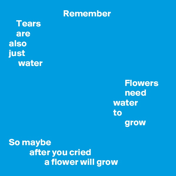 Remember     Tears     are also just      water                                                                Flowers                                                               need                                                         water                                                         to                                                               grow  So maybe            after you cried                    a flower will grow