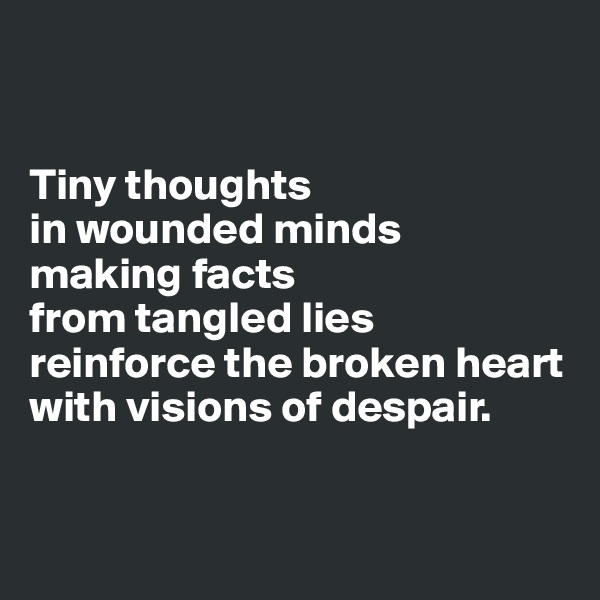 Tiny thoughts  in wounded minds  making facts  from tangled lies  reinforce the broken heart  with visions of despair.