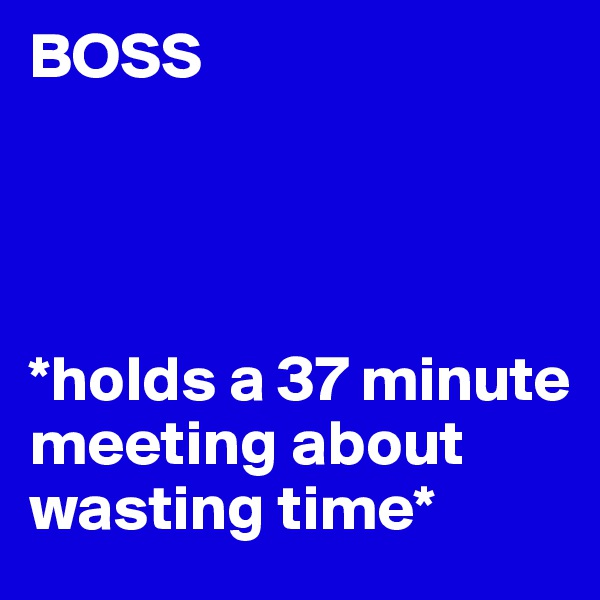 BOSS     *holds a 37 minute meeting about wasting time*
