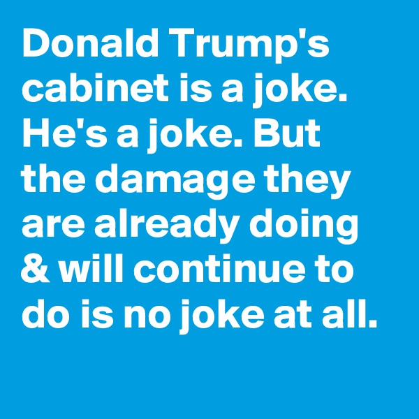 Donald Trump's cabinet is a joke. He's a joke. But the damage they are already doing & will continue to do is no joke at all.