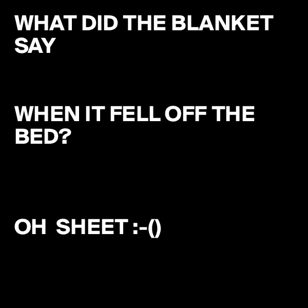 WHAT DID THE BLANKET SAY    WHEN IT FELL OFF THE BED?                  OH  SHEET :-()