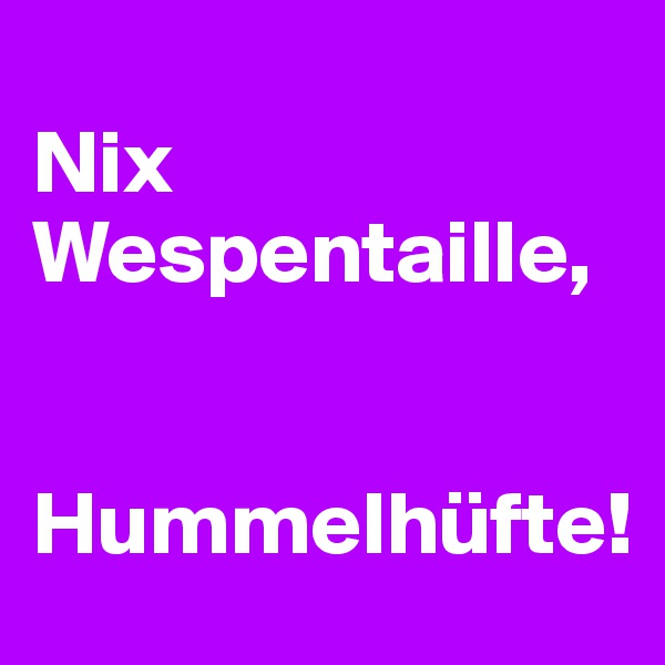 Nix Wespentaille,   Hummelhüfte!