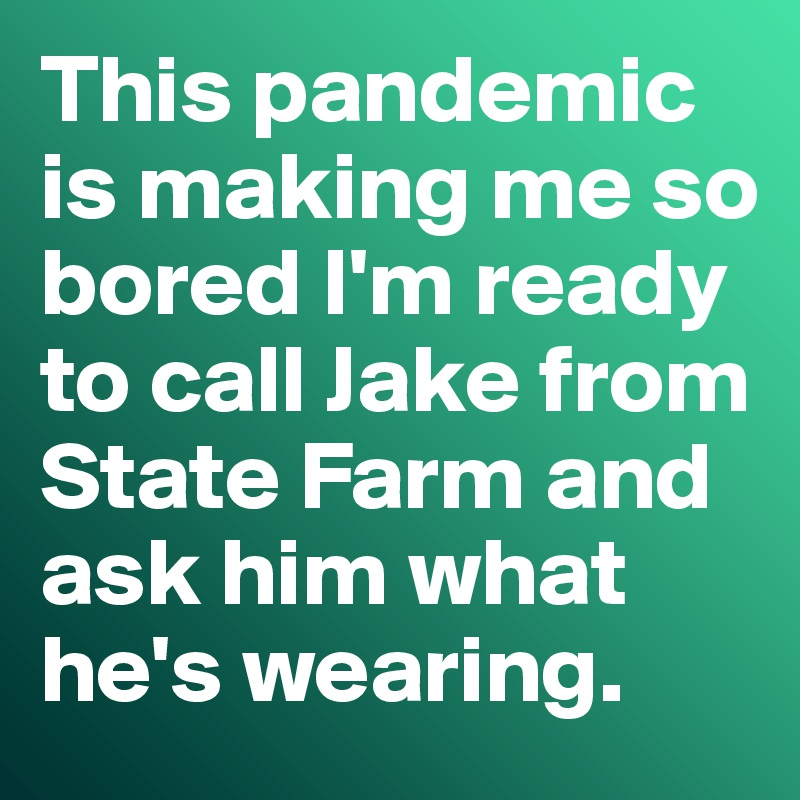 This pandemic is making me so bored I'm ready to call Jake from State Farm and ask him what he's wearing.