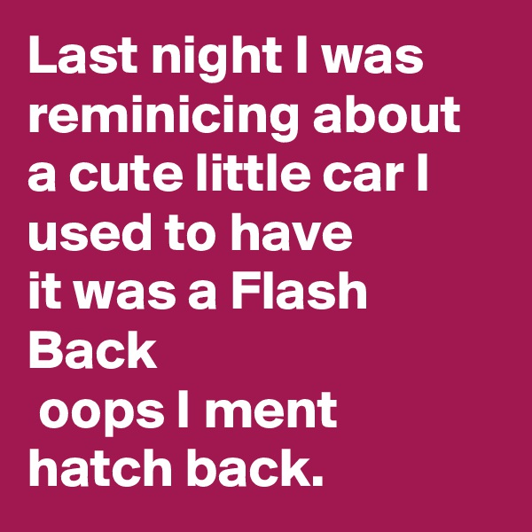 Last night I was reminicing about a cute little car I used to have  it was a Flash Back  oops I ment hatch back.