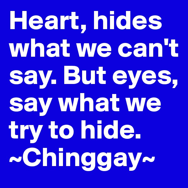 Heart, hides what we can't say. But eyes, say what we try to hide. ~Chinggay~