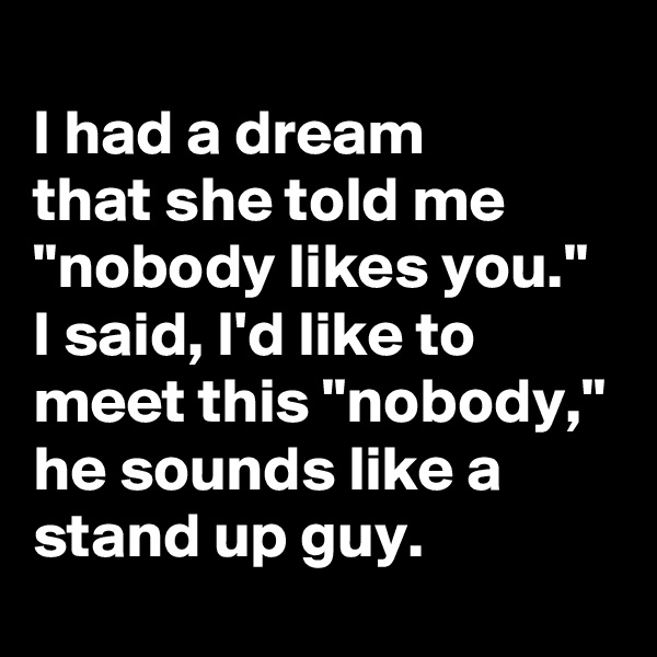 "I had a dream  that she told me ""nobody likes you."" I said, I'd like to meet this ""nobody,"" he sounds like a stand up guy."