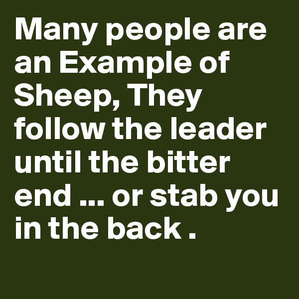 Many people are an Example of Sheep, They follow the leader until the bitter end ... or stab you in the back .