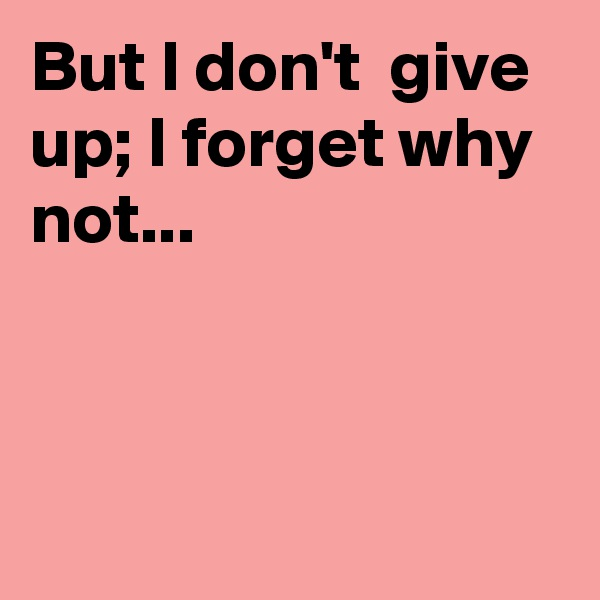But I don't  give up; I forget why not...