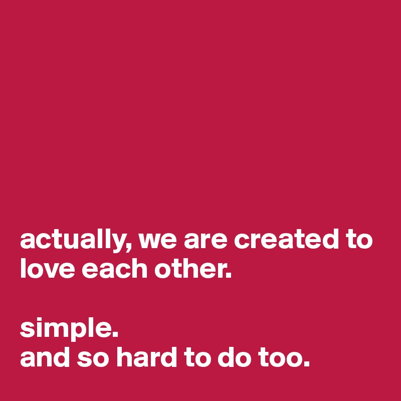 actually, we are created to love each other.   simple.  and so hard to do too.