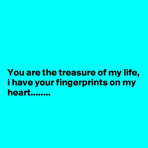 You are the treasure of my life, i have your fingerprints on my heart........