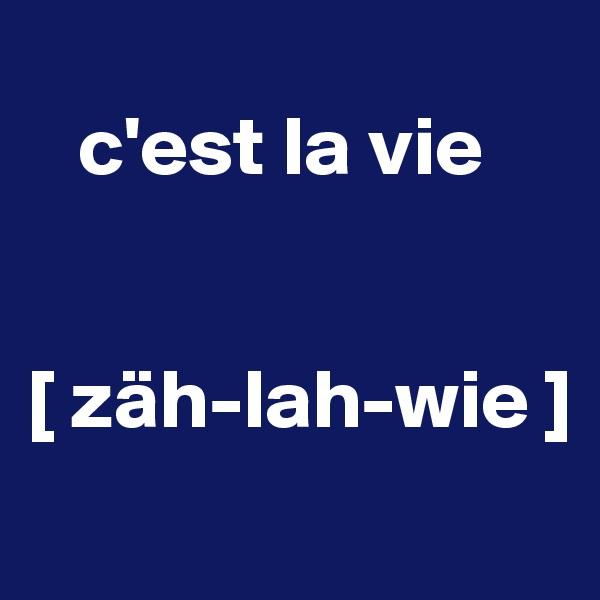 c'est la vie    [ zäh-lah-wie ]