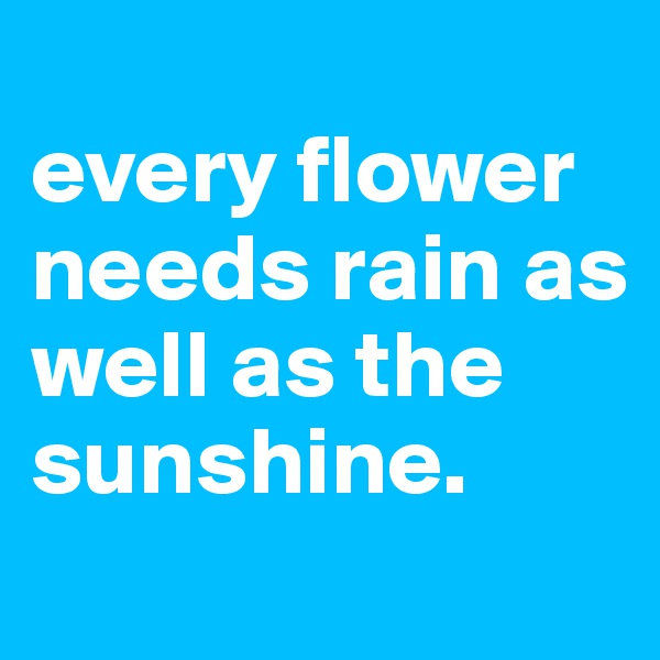 every flower needs rain as well as the sunshine.