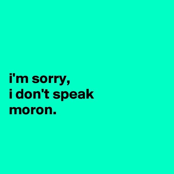 i'm sorry, i don't speak moron.