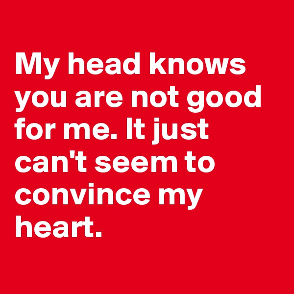 My head knows you are not good for me. It just can't seem to convince my heart.