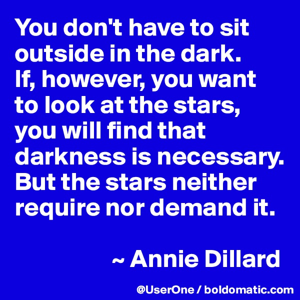 You don't have to sit outside in the dark. If, however, you want to look at the stars, you will find that darkness is necessary. But the stars neither require nor demand it.                     ~ Annie Dillard