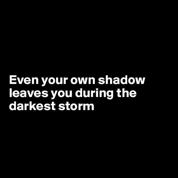 Even your own shadow leaves you during the darkest storm