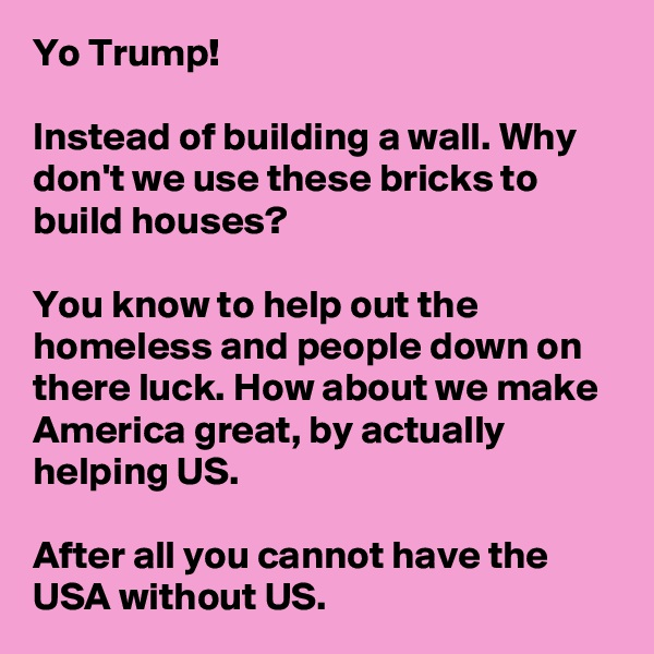 Yo Trump!  Instead of building a wall. Why don't we use these bricks to build houses?  You know to help out the homeless and people down on there luck. How about we make America great, by actually helping US.   After all you cannot have the USA without US.