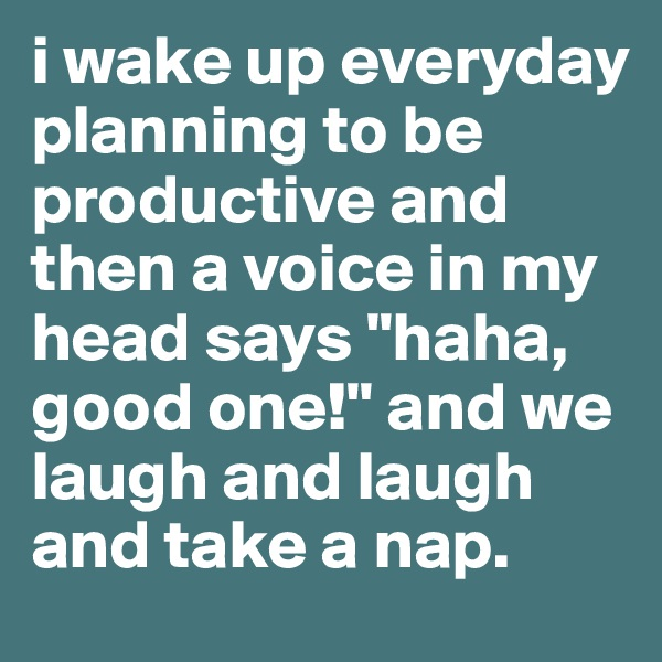 "i wake up everyday planning to be productive and then a voice in my head says ""haha, good one!"" and we laugh and laugh and take a nap."