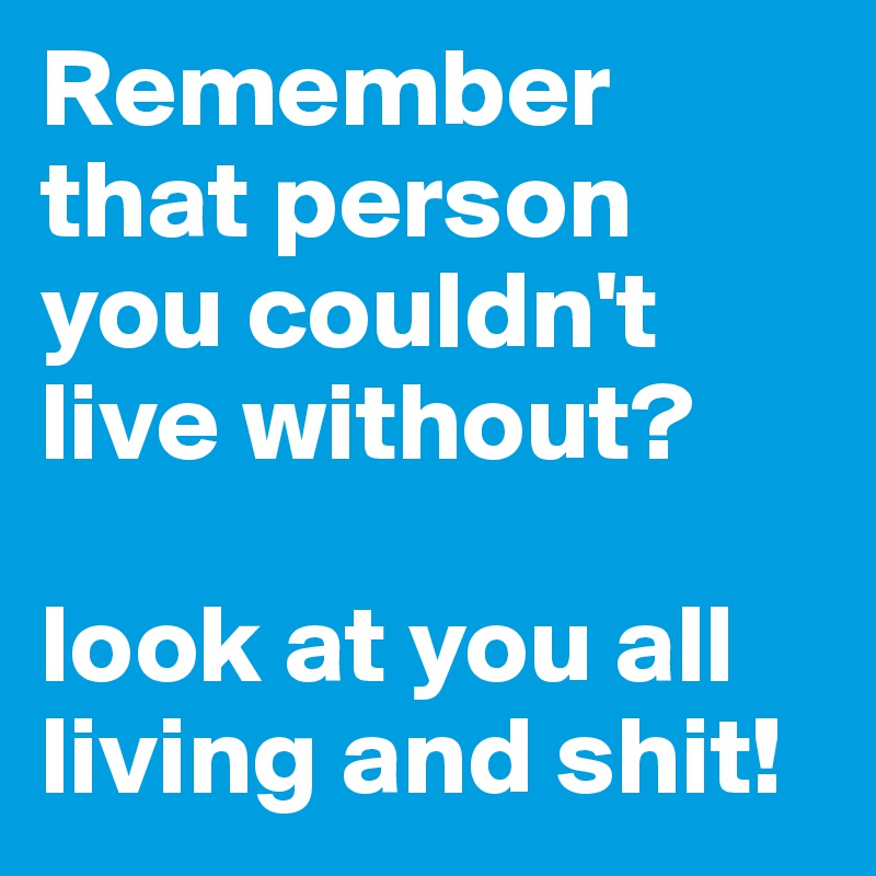 Remember that person you couldn't live without?   look at you all living and shit!